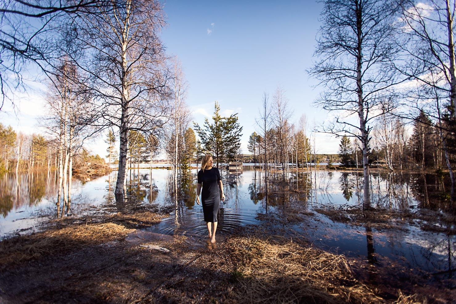 Ny strandlinje - vårflod i Särna